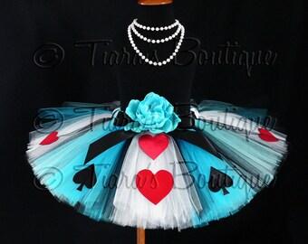 Girls Birthday Tutu, Alice in Wonderland Tutu, Alice of Hearts, Sewn Costume Tutu, Blue White Tutu, Tea Party Tutu, Tutu Set, Halloween Tutu