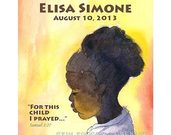 Personalized Adoption Art  Print Girls Room Prayer