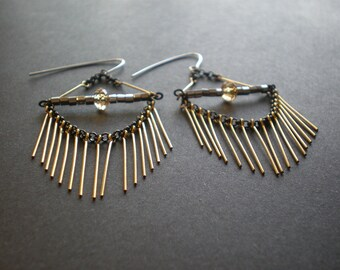 Fringe Earrings | Geometric Earrings | Spike Earrings | Hanging Chain | Gold & Black Dangle Earring | Look Like Eyelashes | Gift Best Friend
