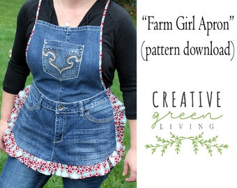 Recycled Denim Apron PDF DOWNLOADABLE Pattern