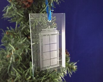 Hand Etched Glass Ornament - Doctor Who inspired (TARDIS)