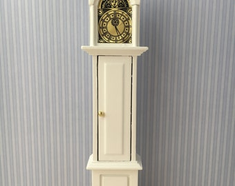Dolls House Miniature White Grandfather Clock