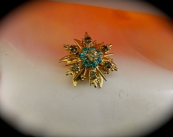 "Vintage Starburst Brooch, White, Gray and Bright Blue Rhinestones: ""Blue Fairy Star"""