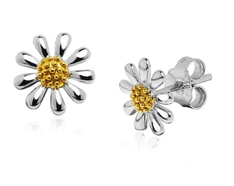 925 Silver Daisy Earrings with 18ct Gold Plated Centres (Size: 10 mm)
