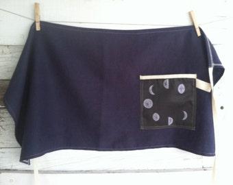 Linen Half Apron with Single Pocket - Indigo with Moon Phases