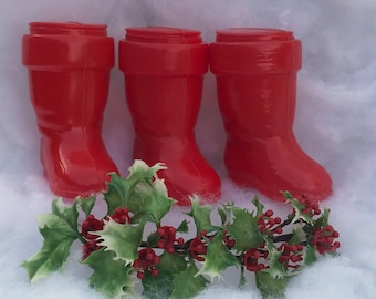 Midcentury Christmas Santa Boot Plastic Candy Containers Ornaments Set of Three 1950s