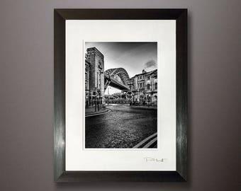 Tyne Bridge framed print, black white photo, urban cityscape, Newcastle Quayside, cityscape shot, Fine art photography, framed wall art