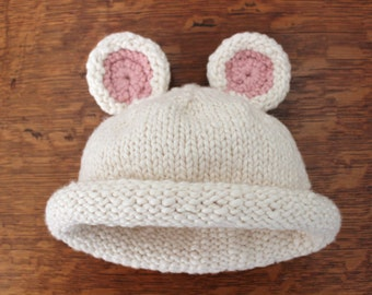 Baby Size 3 - 6 Months Hand Knit Ivory Organic Cotton Bear Hat