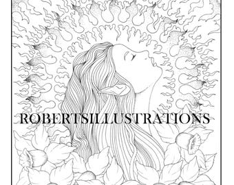 Fairy coloring page, Fantasy coloring page, instant download, printable coloring page of a fairy