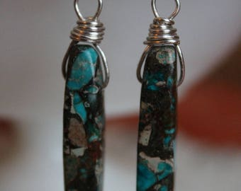 Jasper and silver wire-wrapped earrings