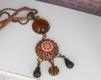 """bronze necklace """"1001 night"""" oriental necklace / mosaic cabochon / black red / gift for woman"""