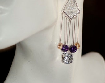 Ref: 001 SWAROVSKI colored crystals, long silver chandelier earrings