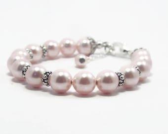Baby Girl Jewelry, Baby Shower Gift, Flower Girl Bracelet, Baby Pearl Bracelet, Christening Bracelet, First Communion Bracelet B16276