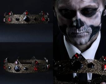 Baroque Men's Crown, Gothic Crown, Black Crown, Male Crown, Men's Pageant Crown, Black Charlemagne, Black crown