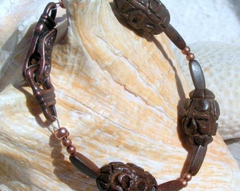 Cooper and Carved Wood Bracelet, Jewelry