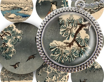 Vintage Snowy Japanese Printables for Christmas, Hannukah, and Winter in 1.5 inch Circles -- piddix digital collage sheet no. 208