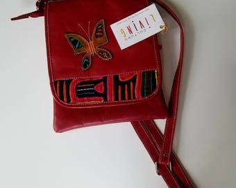 BLACK FRIDAY / Crossbody Leather bag Mola Textile / Red Color Cross-body bag / Women Bag / Shoulder Bags for women / Christmas Gift / Gifts