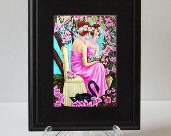 Art Print, Bird Art, Swan Prints, Swans, Small framed print, Birds, Garden Art, Fine Art Print
