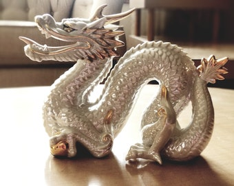 Porcelain Dragon Figurine Yoshimi K Opalescent Pearl and Gold Figurine