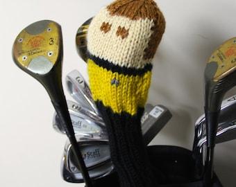 Captain Kirk, Star Trek, Knit, Golf Club Cover, Golf Headcover, Golf Head Cover, Golf Gifts, Gifts for Men, Sci Fi, Geek, Nerd