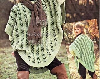 CROCHET ladies woven crochet poncho - DK - Crochet Pattern - PDF instant download