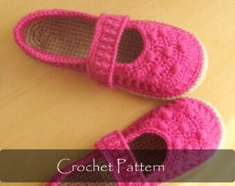 CROCHET PATTERN - Women Pattern House Slippers Mary Jane Slippers Warm Winter Shoe Pattern Slipper Pattern Womens Slippers PDF - P0037