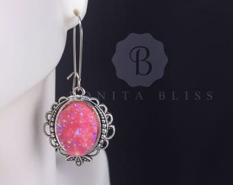 Pink Ornate Oval Druzy Earrings, Faux Druzy Earrings, Bridesmaid Gift Druzy, Pink Druzy Earrings, Oval Drusy