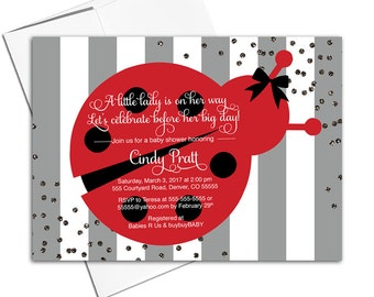 ladybug baby shower invitation for a girl | gray red black | little ladybug invitation theme | ladybug birthday invitation - WLP00744