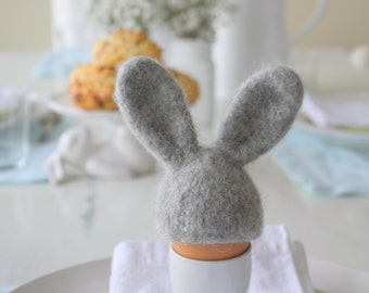 Easter table decor, Bunny egg cozy, hand knit and felted