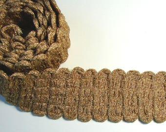 1.10 meter of Ribbon, fancy trim, gold, 4.4 cm, vintage.