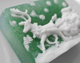 Winter Holiday Glitter Soap / Christmas Soap - Santa Soap, Reindeer Soap, Snowman Soap