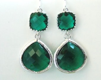 Green Earrings, Green Emerald, Silver Earrings, Emerald Earrings, Wedding Jewelry, Bridesmaid Earrings, Bridal Earrings, Bridesmaid Gifts