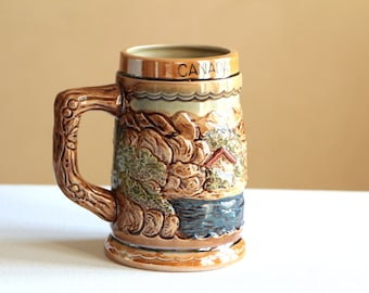 Vintage ceramic beer stein made in Japan / Canada and Niagara Falls mug souvenir