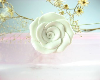 White Rose Ring, rose jewelry, flower ring, flower jewelry, rose, polymer clay, floral nature garden cute roses petals
