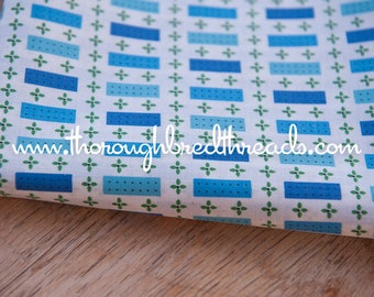"""Happy Geometric - Vintage Fabric  50s 36"""" wide New Old Stock Daisies Dots Rectangles"""