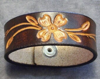 Leather Cuff with Tooled Dogwood Flower