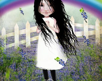"Mini Art Print - ATC ACEO Artists Trading Card - 'Bluebonnet Lane' - Texas Themed art print - little girl and flowers - 2.5x3.5"""