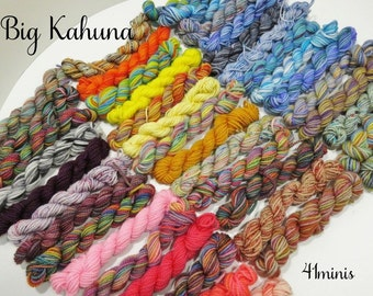 SALE - Big Kahuna - 41 Sock Yarn Miniskeins, 12 yds each