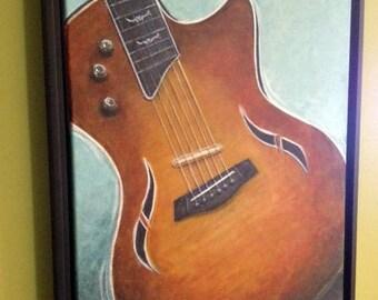VENTE 16 x 20 peinture originale encadrée guitare Taylor hybride par Rebecca Sarah livraison gratuite