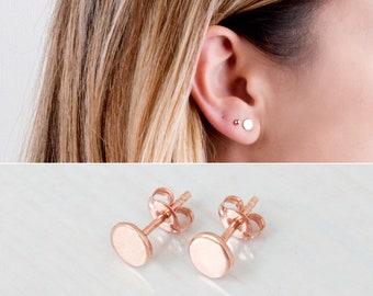 Rose Gold Circle Stud Earrings, Disc Stud Earrings, Minimalist Earrings, Everyday Simple Studs, Delicate Earrings, Gold Studs, Silver Posts