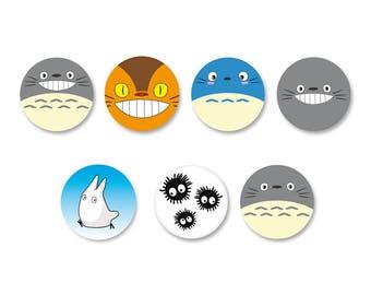 Lot Pins Ø25mm - o38mm Pinback Button Badge / Magnet o38mm Totoro