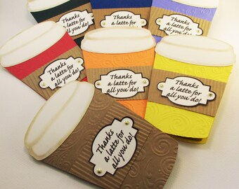 Thanks A Latte Card, Gift Card Holder, LOVE You A Latte, Coffee Cup Gift Card Holder, Teacher Card, Business Thank You, Coffee Lover Gift
