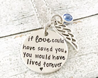 Memorial necklace - Hand stamped necklace - Loss necklace - Remembrance jewelry - Memorial necklace - Remember a loved one - Loss necklace