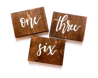 Wood Table Numbers   Hand Painted Table Numbers   Wedding Table Numbers