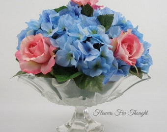 Hydrangea and Roses Table Centerpiece, FFT Original Design, Fancy Glass Dish, Silk Wedding Flowers Table Arrangement