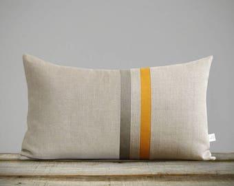 Marigold Yellow & Stone Gray Striped Linen Lumbar Pillow Cover (12x20) Fall Home Decor by JillianReneDecor - Autumn - FW2015