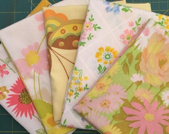 Vintage Sheet Fabric Fat Quarters - 5 pack- pink and yellows