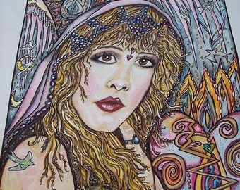 Stevie Nicks, WILD HEART, Print of Original Watercolor Pen and Ink Painting
