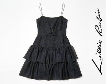80s Lillie Rubin black tiered dress - Size XS/S