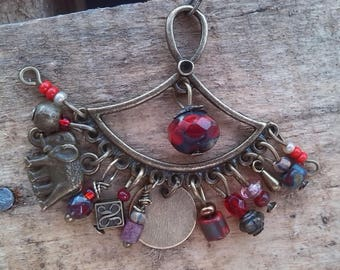 Earrings Bohemian, hippie, Gypsy, bronze and elephant, red or Turquoise
